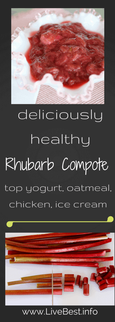 Rhubarb Compote recipe | Rhubarb, ginger and orange. Yum! Rhubarb Compote, how do I eat thee? With yogurt, oatmeal, cornmeal cake, and ice cream! Real food naturally. www.LiveBest.info