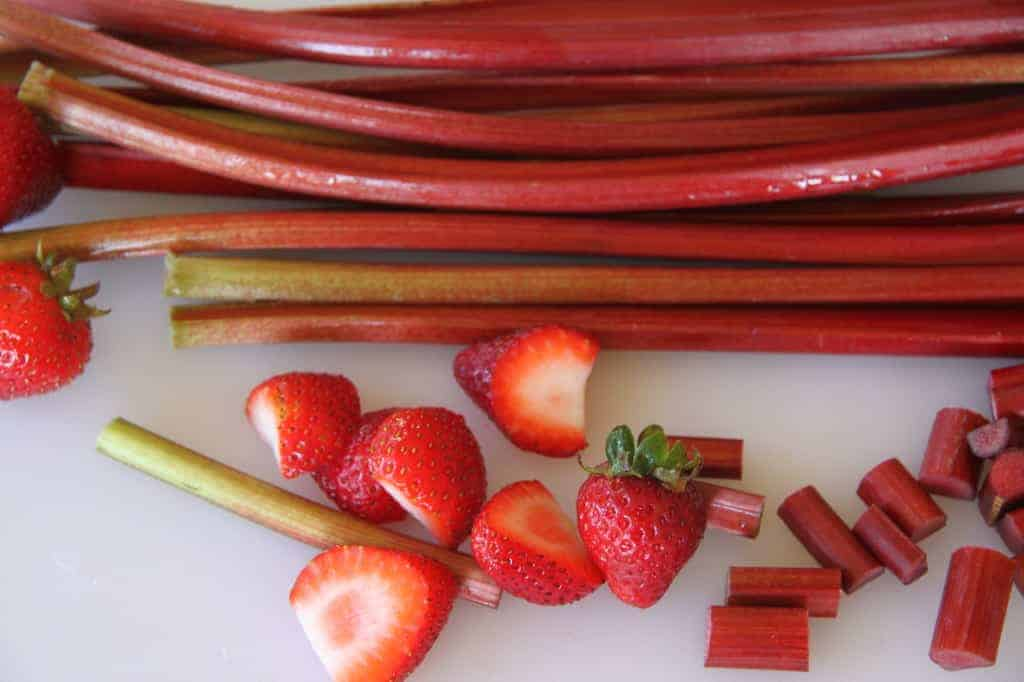 rhubarb and strawberries