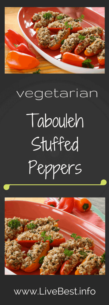 Tabouleh Stuffed Peppers | Fresh veggies, healthy fats, fiber and spices all add up to a dish with benefits - healthy ones! But people likely won't notice that. They'll just notice the refreshing flavors and how cute it looks! www.LiveBest.info