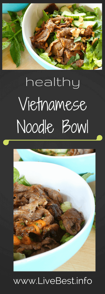Spicy, tangy, crunchy, salty, I love this refreshing Vietnamese Beef Noodle bowl. Easy to make at home, you'll turn to this healthy recipe time after time. www.LiveBest.info