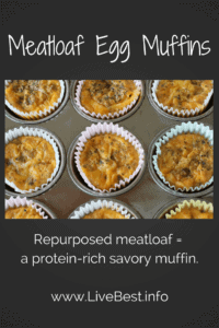 Meatloaf Egg Muffins | A savory satisfying muffin takes dinner over to breakfast with last night's meatloaf. www.LiveBest.info