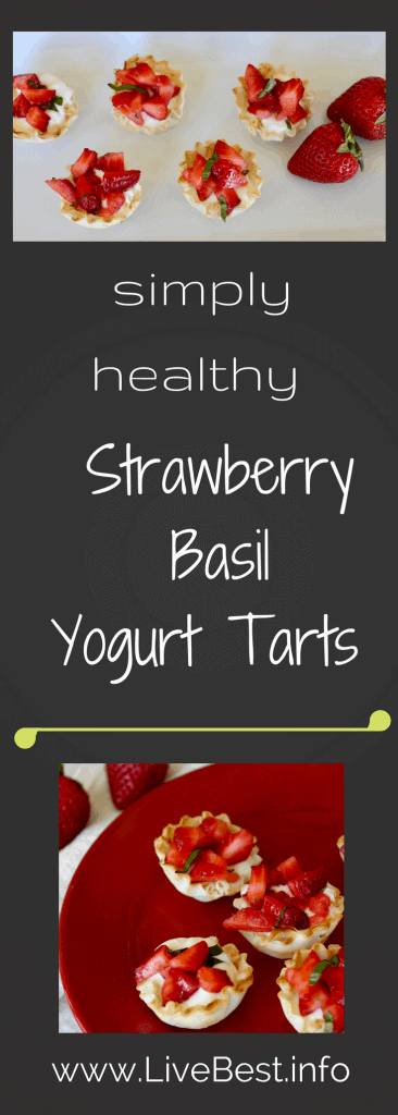 Strawberry Basil Yogurt Tarts | These cool bites are the dessert recipe you've been looking for. Easy and elegant! Real food naturally. www.LiveBest.info