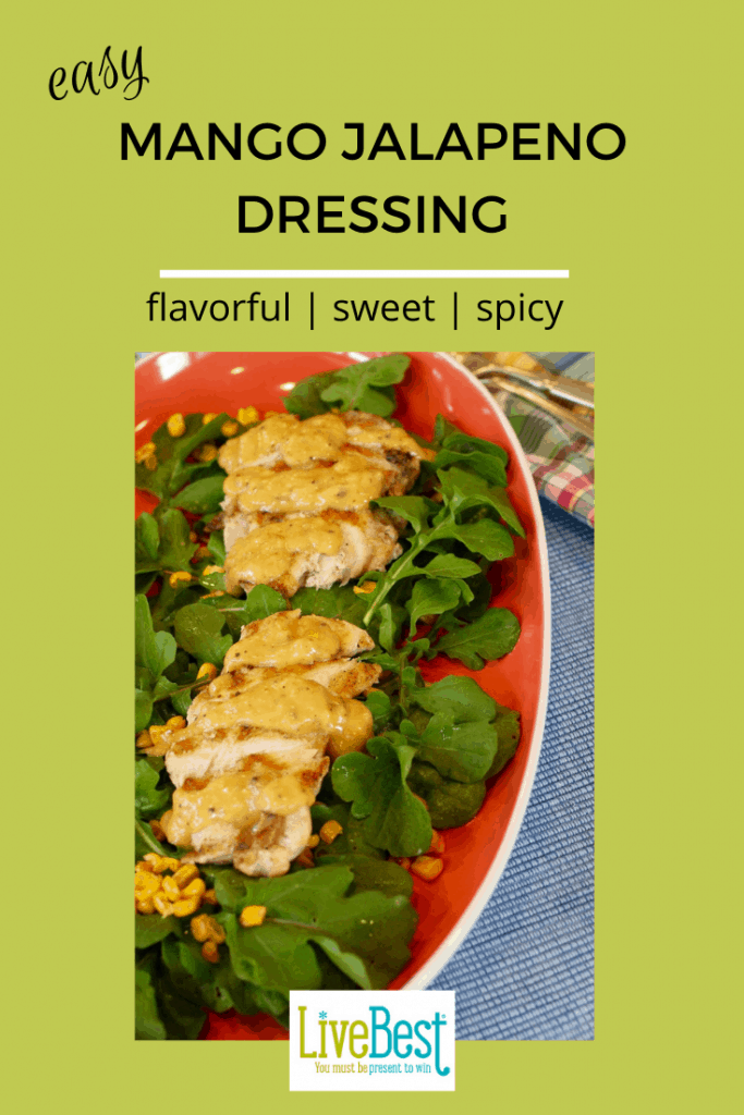 Mango jalapeno dressing over chicken with arugula