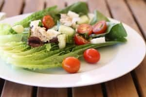 Greek Salad with Beans and Tuna on plate