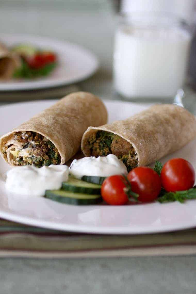 Gyros Breakfast Burritos recipe | I love this recipe because the ingredients are super flavorful. Plus it meets my nutrition recommendation that a breakfast include at least 3 foods groups. The beef, cheese, and yogurt add protein, the spices boost the antioxidants and with all that spinach, even Popeye would pull up a chair! www.LiveBest.info