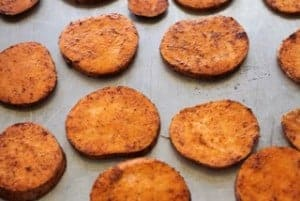 spiced sweet potato slices