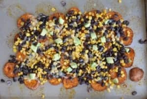 Sweet Potato Nachos on sheet pan