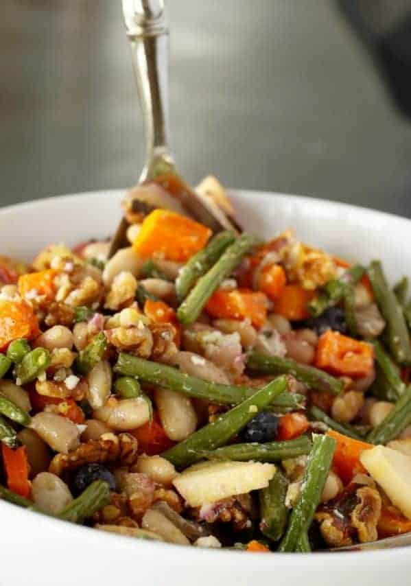 Walnut Roasted Vegetable Salad | Walnuts, butternut squash, green beans, cheese, beans, apples, oh my! Did I say nutrish? This vegetarian recipe has delish in every bite! A healthy recipe, naturally. www.LiveBest.info