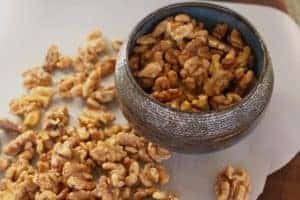 Maple-Glazed Walnuts in a bowl