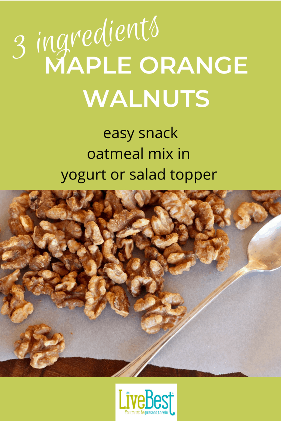 maple orange walnuts on parchment paper with a spoon
