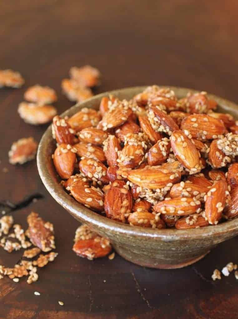 bowl of salted honey sesame almonds