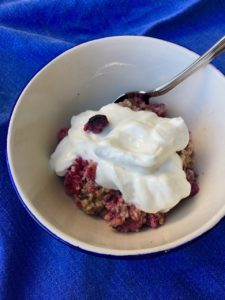 Berry Cardamom Baked Oatmeal with yogurt