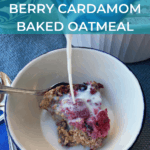 bowl of baked oatmeal with milk pour