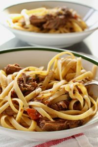 2 bowls of Short Rib Ragu with fettuccine