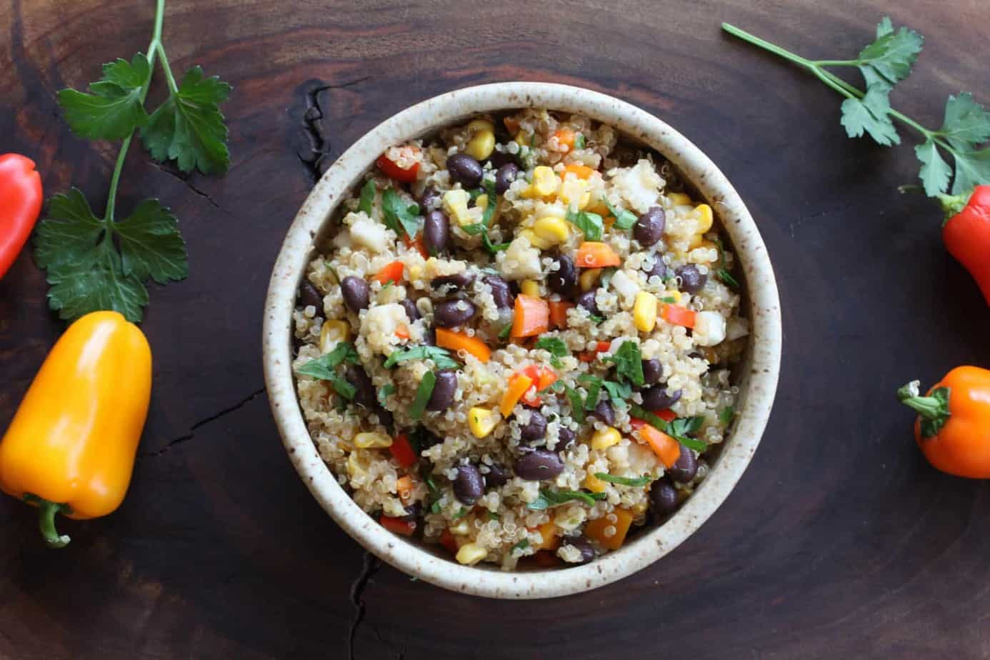 Black Bean Quinoa Salad | This high protein, high fiber vegetarian salad is filled with delicious real food. It is easy to make and keeps well. www.LiveBest.info