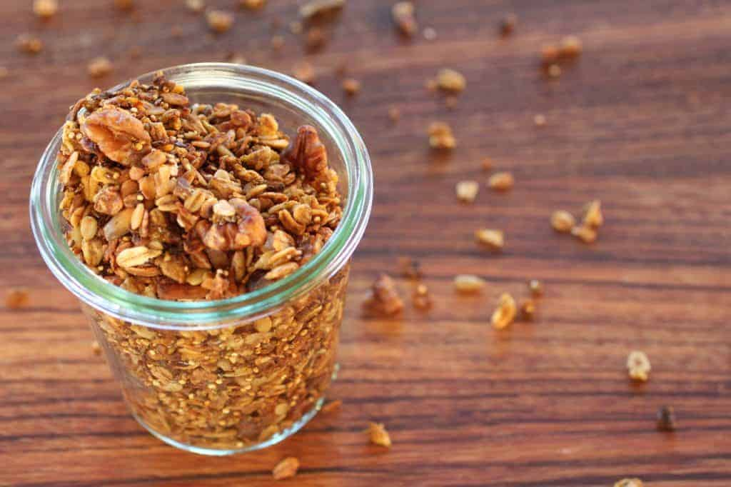 Jar of pumpkin spice seedy granola