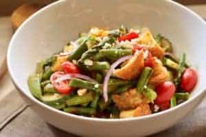 Panzanella Vegetable Salad in a bowl